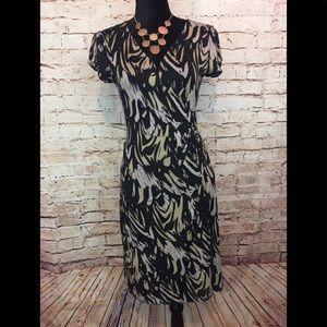 Express wrap dress Short Sleeve Black Tan Print